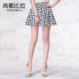 Sentubila - Pleated Floral A-Line Skirt