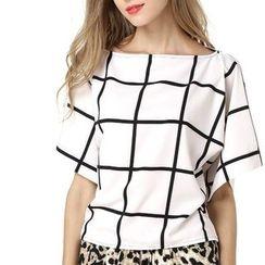 LIVA GIRL - Window Pane Short Sleeve Chiffon Top