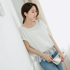 Tokyo Fashion - Short-Sleeve Lace-Hem Check Top