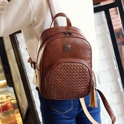 Merlain - Woven Faux Leather Backpack