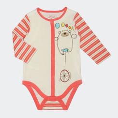 malimarihome - Baby Stripe Sleeve Printed Bodysuit