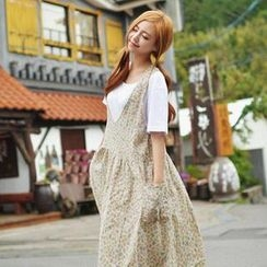 GOROKE - Floral Pattern Linen Blend Jumper Skirt