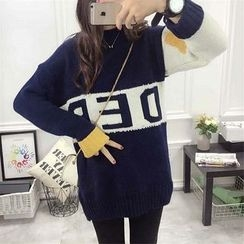 Melon Juice - Lettering Color Block Chunky Knit Long Sweater