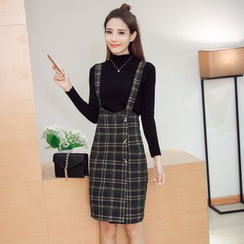 Fancy Show - Set: Long-Sleeve Mock-Neck Knit Top + Plaid Jumper Skirt