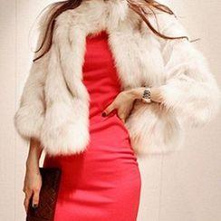 Fluff Snowy - 3/4 Sleeve Faux-Fur Jacket
