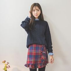 WITH IPUN - Round-Neck Cable-Knit Sweater
