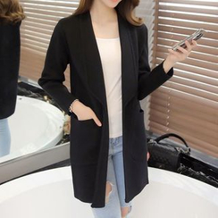 Bubbleknot - Plain Knit Long Jacket