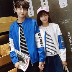 Azure - Couple Matching Lettering Color Panel Zip Jacket