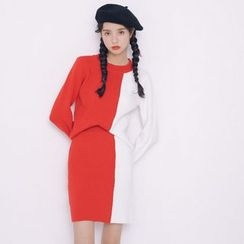 Everies - Set: Color Block Knit Pullover + Skirt