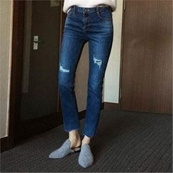 QNIGIRLS - Brushed-Fleece Lined Straight-Cut Jeans