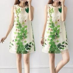 Ashlee - Floral Print Sleeveless Organza Dress