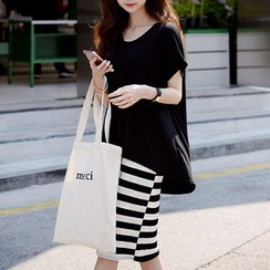 Everose - Set: T-Shirt + Striped Dress