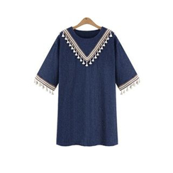 GRACI - Tasseled Chevron Elbow-Sleeve Tunic