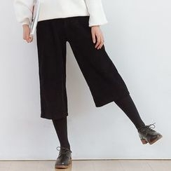 Forest Girl - Corduroy Wide Leg Cropped Pants