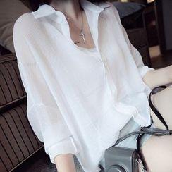 KAKAGA - 3/4-Sleeve Chiffon Shirt