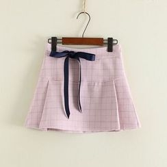 Mushi - Ribbon Detail Check Pleated A-Line Skirt