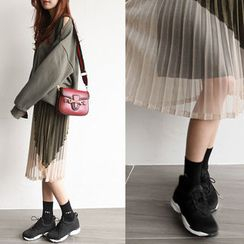 NIPONJJUYA - Accordion-Pleat Sheer Long Skirt