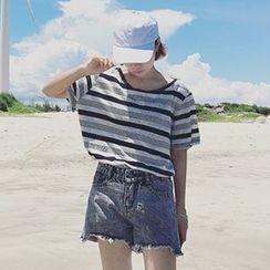 Dute - Striped Short Sleeve Open Back T-Shirt