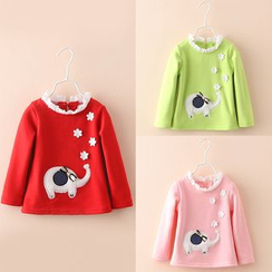 Seashells Kids - Kids Elephant Applique Fleece-lined Top