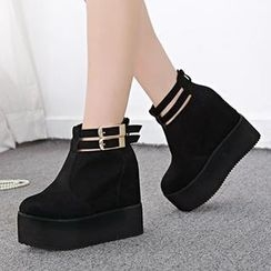 Mancienne - Belted Wedge Ankle Boots