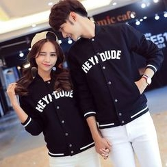 INUS - Couple Matching Lettering Baseball Jacket