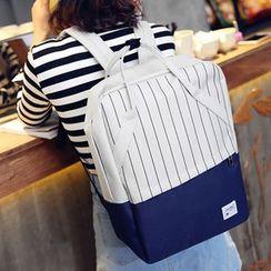 Clair Fashion - 韩版条纹书包电脑包双肩包