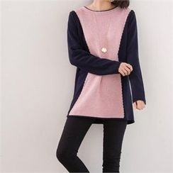 PEPER - Round-Neck Color-Block Knit Top