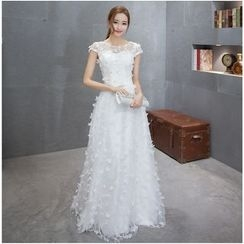 MSSBridal - Corsage Cap-Sleeve A-Line Wedding Gown