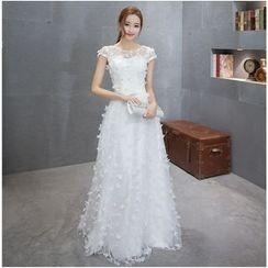 MSSBridal - Corsage Cap-Sleeve A-Line Wedding Gown