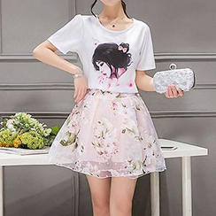 Enjoi - 套裝: 印花短袖T恤 + 短裙