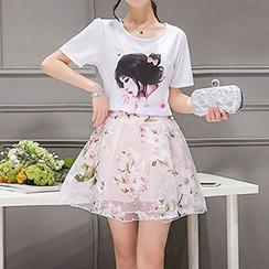 Enjoi - Set: Printed Short-Sleeve T-shirt + Skirt