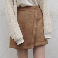 Dute - Faux Suede Asymmetrical A-Line Skirt