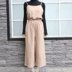 ANTEM - Set: Plain Camisole Top + Cropped Wide Leg Pants