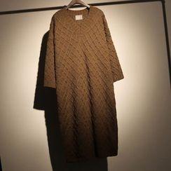 somniaa - 麻花針織V領毛衣裙