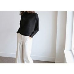 Hello sweety - Boat-Neck Ribbed Knit Top