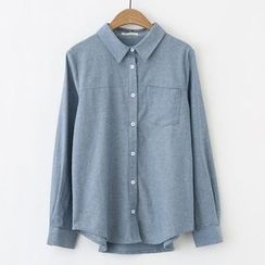 Meimei - 純色長袖襯衫