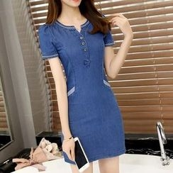 BOHIN - Short-Sleeve Denim Sheath Dress