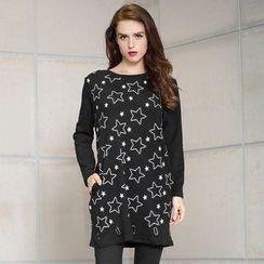 JUBO - Star Print Long-Sleeve Tunic