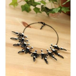 Petit et Belle - Rhinestone Leaves Choker Necklace