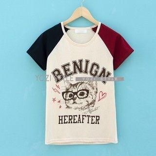 YOZI - Short-Sleeve Cat Print Raglan T-Shirt