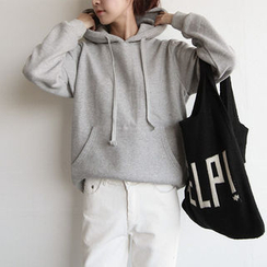 NIPONJJUYA - Hooded Kangaroo-Pocket Brushed-Fleece Lined Pullover