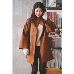 CHERRYKOKO - Funnel-Neck Snap-Button Wool Blend Coat