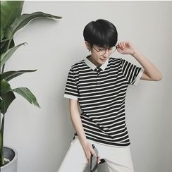 Bestrooy - Striped Short-Sleeve Polo Shirt