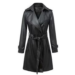 Neeya - Faux Leather Tie Waist Trench Jacket