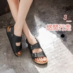 OrangeBear - Faux Leather Buckled Sandals