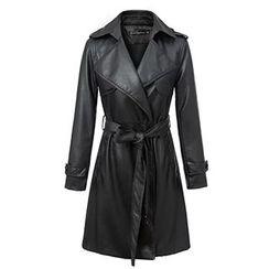 Neeya - Faux Leather Tie Waist Trench Jacket