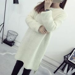 lilygirl - Plain Chunky Knit Long Sweater