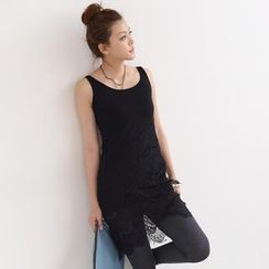 SO Central - Crochet Overlay Midi Dress