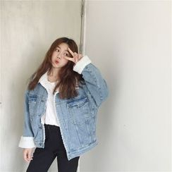 Happy Bird - Fleece-Lined Buttoned Denim Jacket