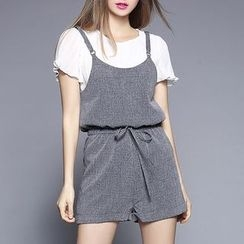 Rosesong - 套装: 雪纺短袖衬衫 + 抽绳背带连体服